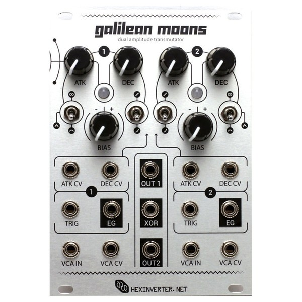 Hexinverter Galilean Moons Dual VCA and Function Generator (18HP) - Front