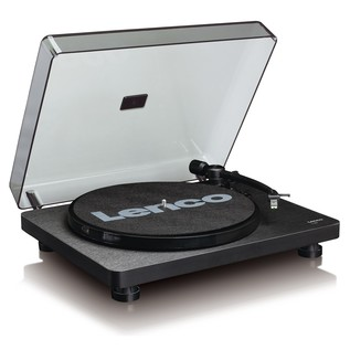 Lenco L-30 Turntable, Black - Angled