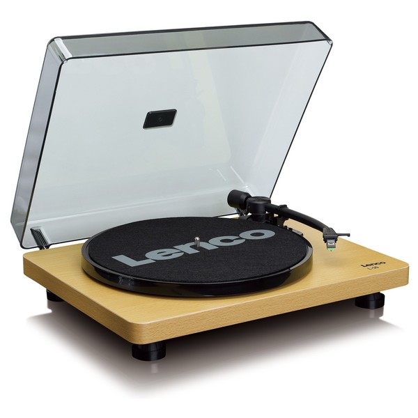 Lenco L-30 Turntable, Natural Wood - Angled