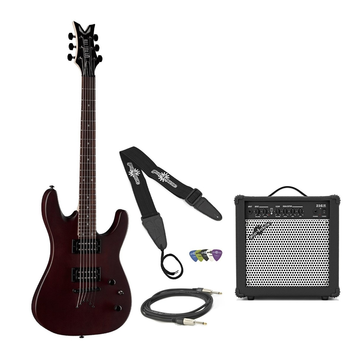 DISC Dean Vendetta XM Guitar Pack, Satin Natural Dean Vendetta Wiring Schematic For Guitar on