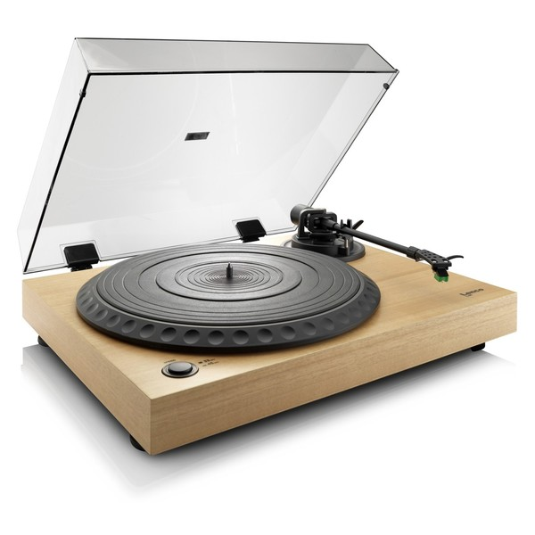 Lenco L-91 Turntable with USB, Natural Wood - Angled