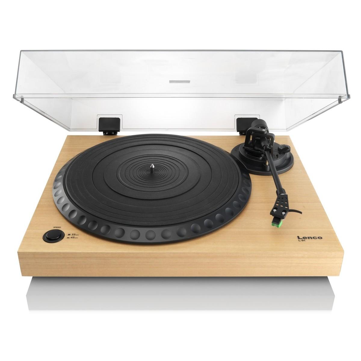 lenco l 91 platine vinyle avec usb bois naturel. Black Bedroom Furniture Sets. Home Design Ideas