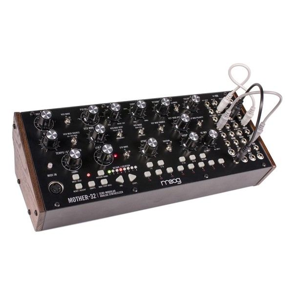 Moog Mother-32 Analog Modular Synthesizer - Angle with Cables
