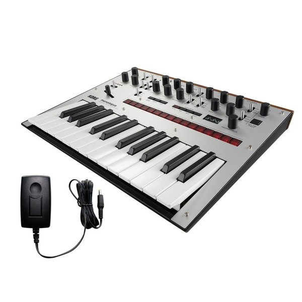 Korg Monologue Analogue Synthesizer, Silver, With Free Power Supply - Bundle