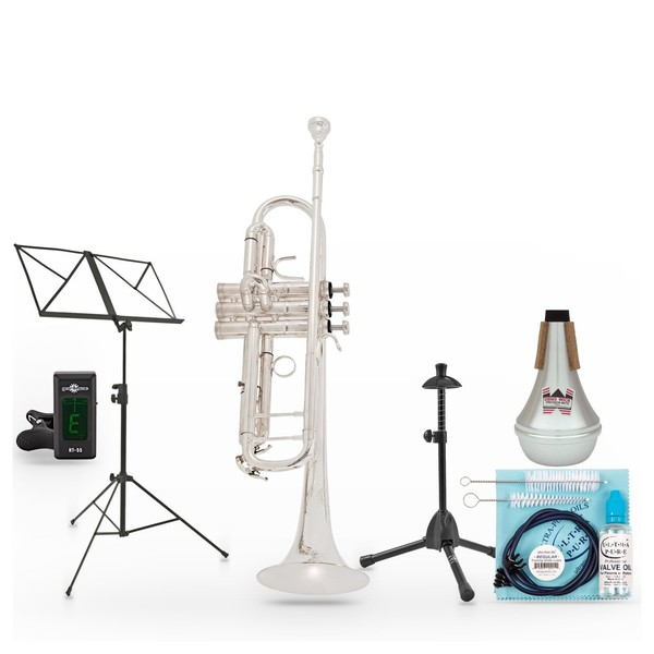 """B&S Challenger 2 Trumpet Package, Silver Plated, 37"""" Bell"""