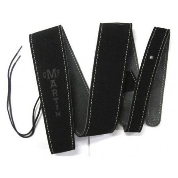 """Martin Guitar Strap 2.5"""" Suede w/ Stitching Black"""