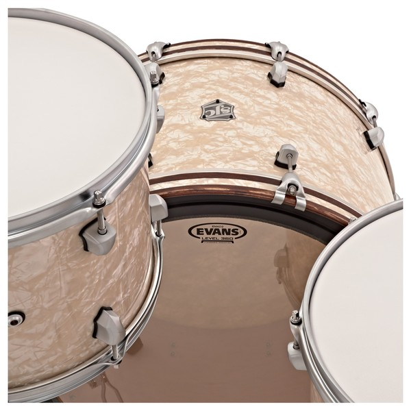"""SJC Drums Custom 24"""" 3pc Shell Pack, Aged White Pearl"""