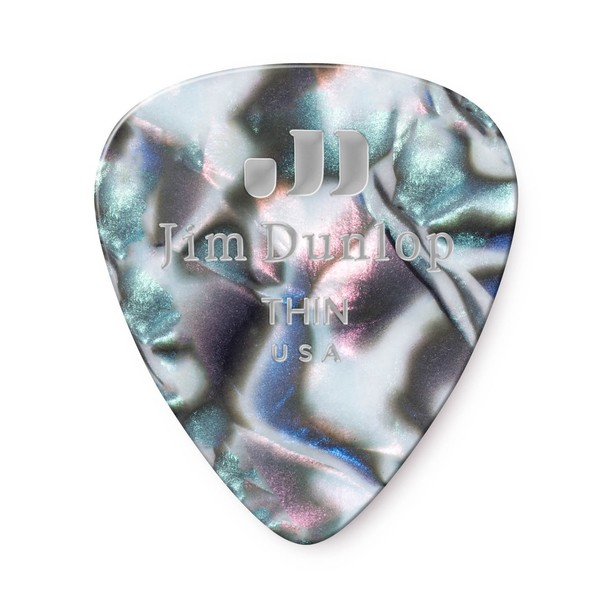 Dunlop Genuine Celluloid 12 Pick Pack Thin, Abalone