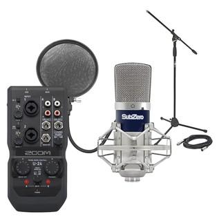 Zoom U-24 USB Interface & SubZero SZC-400 Condenser Microphone Pack - Bundle