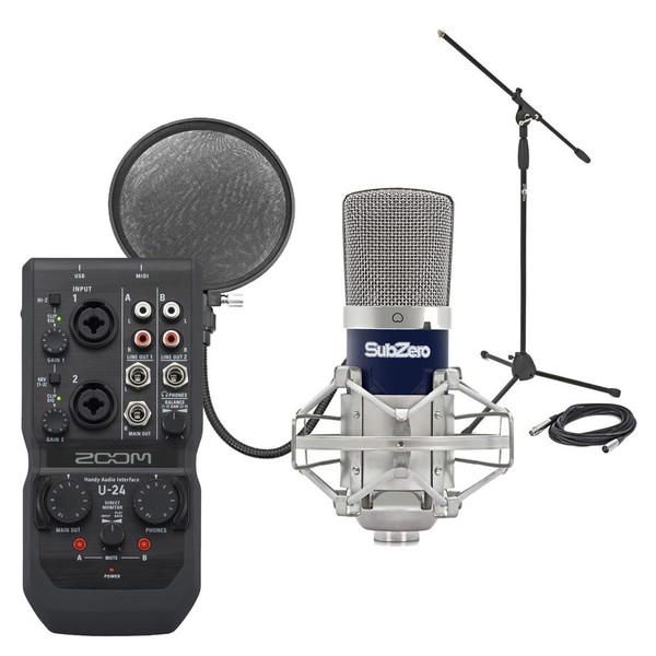 Zoom U-24 USB Interface & SubZero SZC-400 Condenser Microphone Pack - Bundle