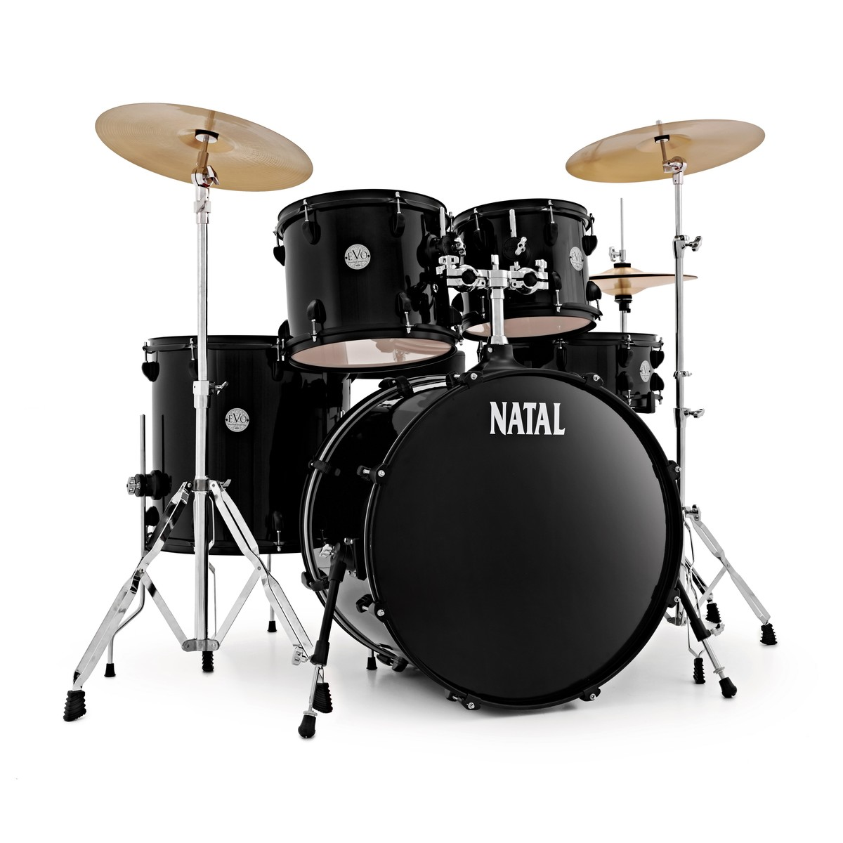 Ljb Drum Accessories : natal evo 22 39 39 drum kit w hardware cymbals extra crash black at gear4music ~ Vivirlamusica.com Haus und Dekorationen