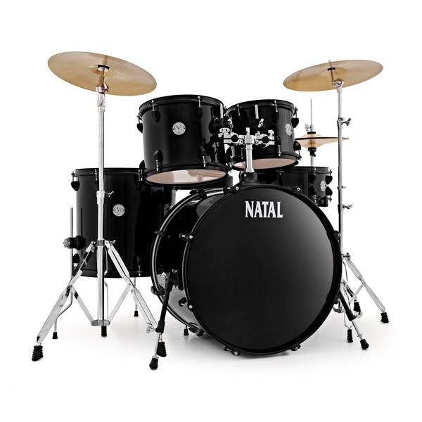 Natal EVO 22'' Drum Kit w/ Hardware, Cymbals & Extra Crash, Black