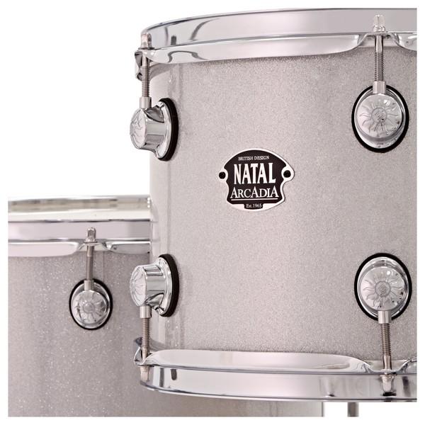 """Natal Arcadia Poplar 5pc 22"""" Drum Kit w/ Hardware, White Sparkle"""