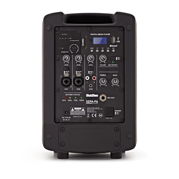 SubZero SZPA-P6 Portable PA with Digital Media Player + Wireless Mic