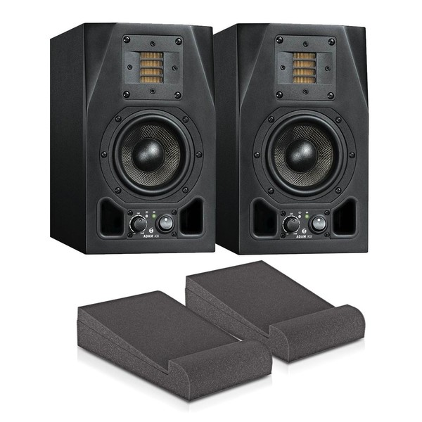 Adam A3X Studio Monitors with Isolation Pads and Cables, Pair - Bundle Main
