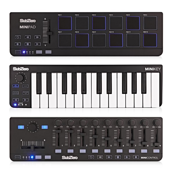 SubZero MINI Series 3 Piece MIDI Controller Set