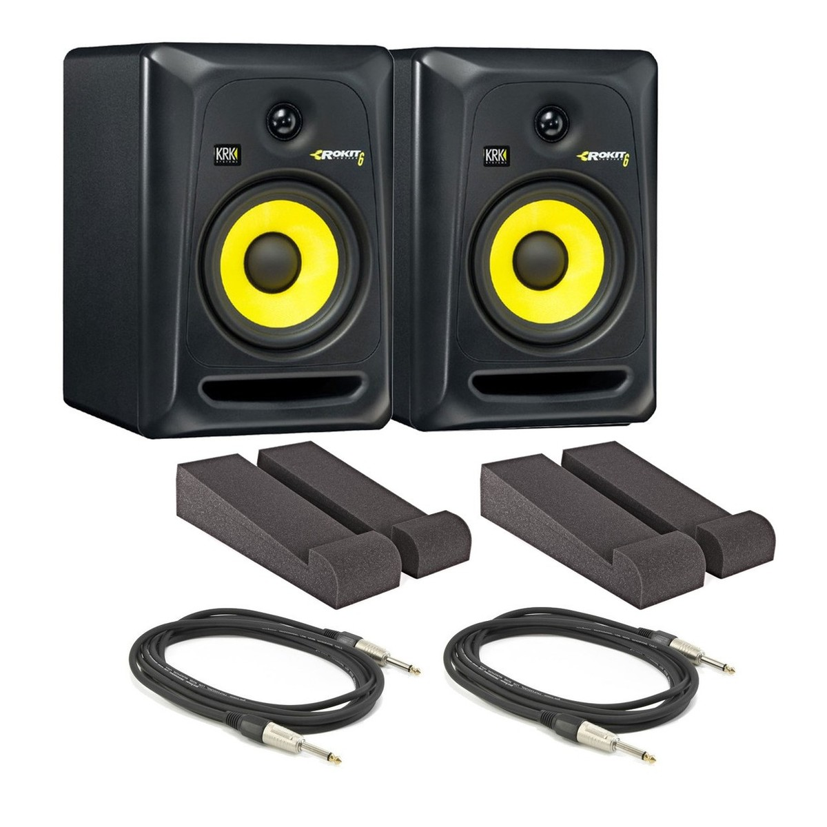 KRK Rokit RP6 G3 Active Monitors with Isolation Pads and Cables ...