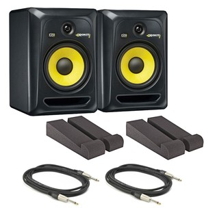 KRK Rokit RP8 G3 Active Monitors with Isolation Pads and Cables, Pair - Full Bundle