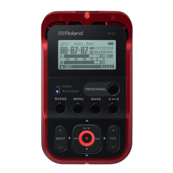 Roland R-07 High Resolution Audio Recorder, Red, Main