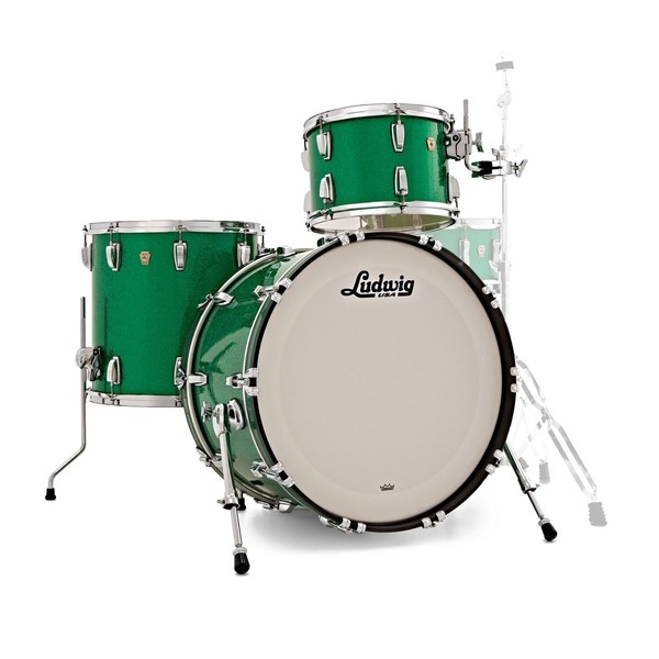 Ludwig Classic Maple Shell Pack, Green Sparkle w/ Free Matching Snare
