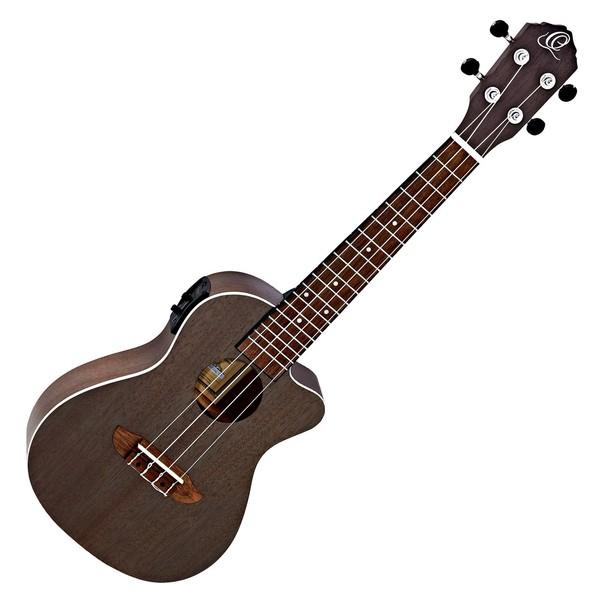 Ortega RUCOAL Electro Acoustic Concert Ukulele, Coal Black