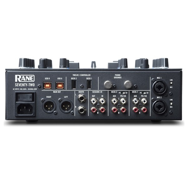 Rane SEVENTY-TWO Battle Mixer - Rear