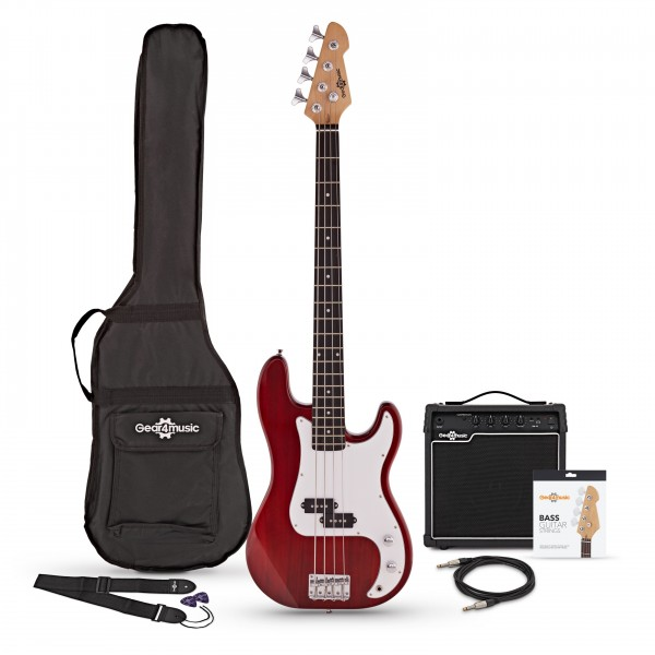LA Bass Guitar + 15W Amp Pack, Red