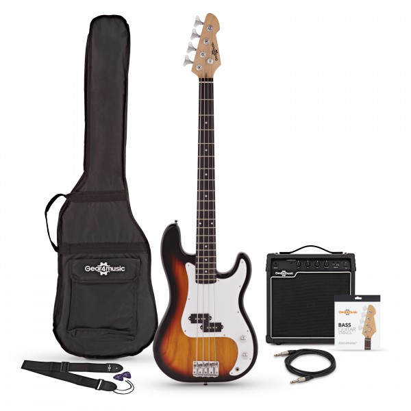 LA Bass Guitar + 15W Amp Pack, Sunburst