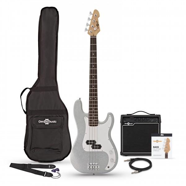 LA Bass Guitar + 15W Amp Pack, Silver Flake