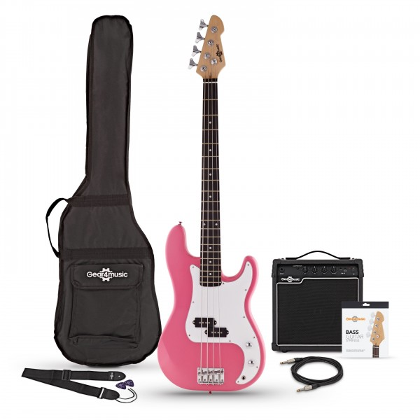 LA Bass Guitar + 15W Amp Pack, Pink