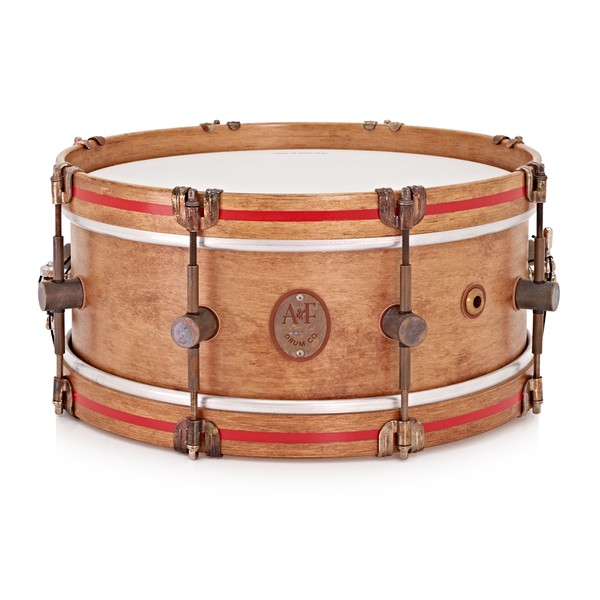 A&F Drum Co. 14'' x 5.5'' Steam Bent Maple Snare Drum, Rum Stain