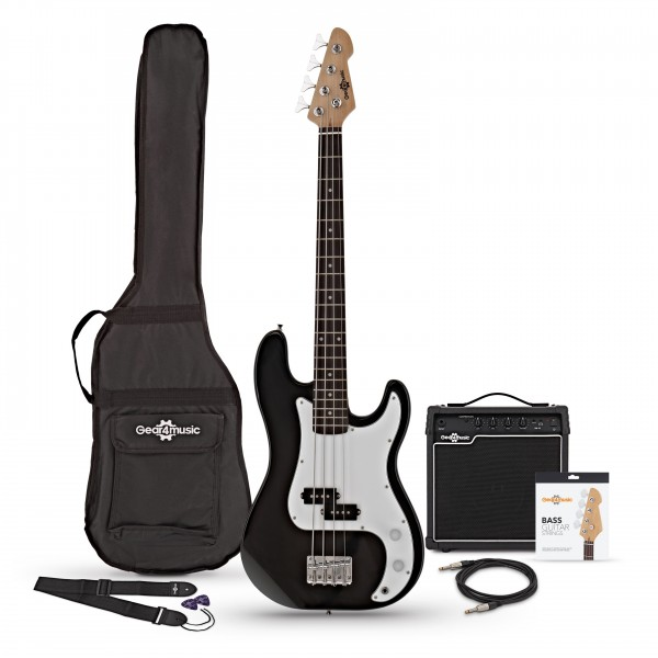 LA Short Scale Bass Guitar + 15W Amp Pack, Black bundle