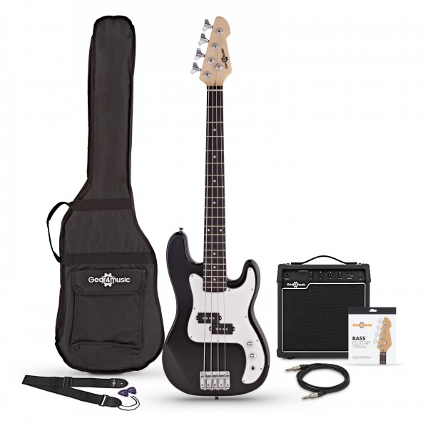 3/4 LA Bass Guitar + 15W Amp Pack, Black - Main Image