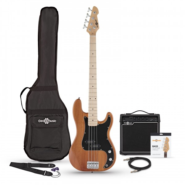 LA Select Bass Guitar + 15W Amp Pack, Natural