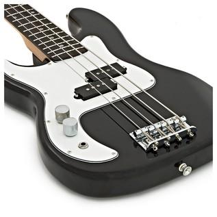 3/4 LA Left Handed Bass Guitar by Gear4music, Black