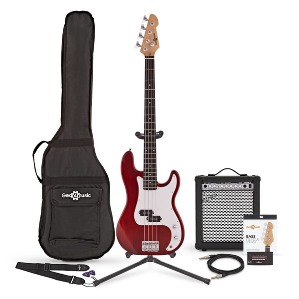LA Bass Guitar + 35W Amp Pack, Red Bundle