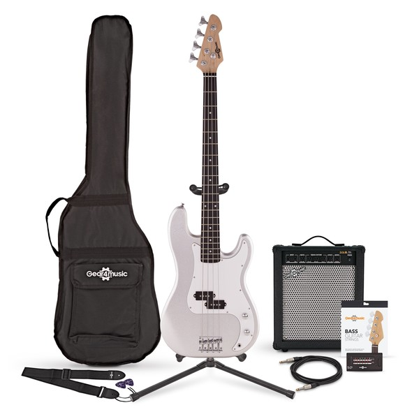 LA Bass Guitar + 35W Amp Pack, Silver Flake