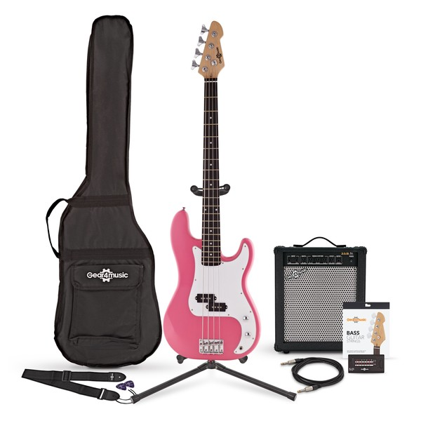 LA Bass Guitar + 35W Amp Pack, Pink