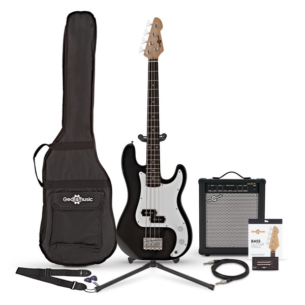 LA Short Scale Bass Guitar + 35W Amp Pack, Black bundle