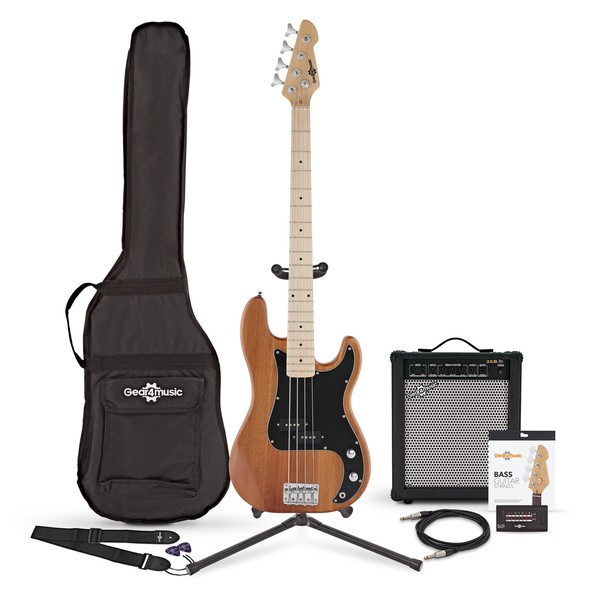 LA Select Bass Guitar + 35W Amp Pack, Natural
