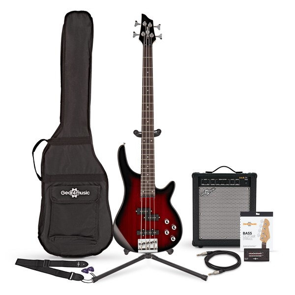 Chicago Bass Guitar + 35W Amp Pack, Trans Red Burst