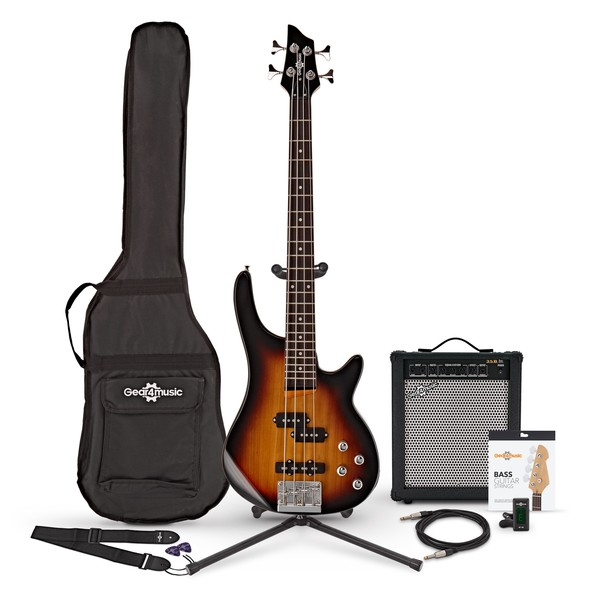 Chicago Short Scale Bass Guitar + 35W Amp Pack, Sunburst
