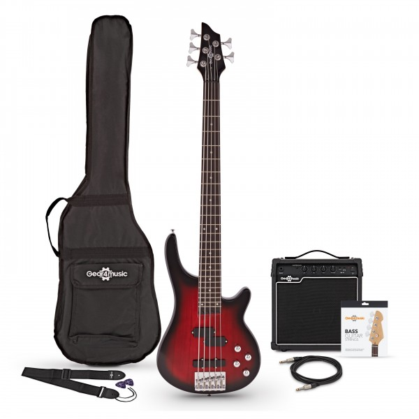 Chicago 5 String Trans Red Bass Guitar + 15W Amp Pack by Gear4music