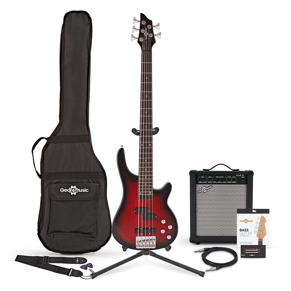 Chicago 5 String Trans Red Bass Guitar + 35W Amp Pack by Gear4music