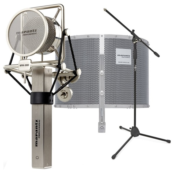 Marantz MPM-3000 Condenser Microphone With Reflection Filter & Stand - Bundle