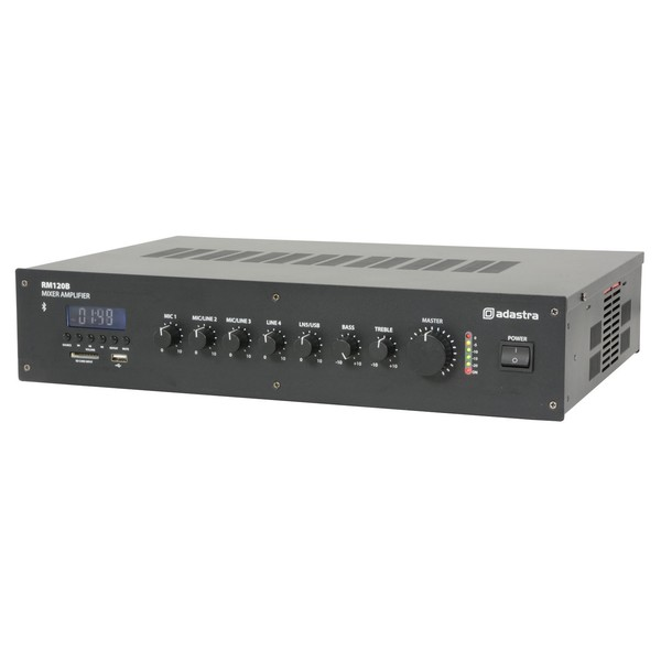 Adastra RM120B 5-Channel 100V Mixer/Amplifier with Bluetooth - Angled