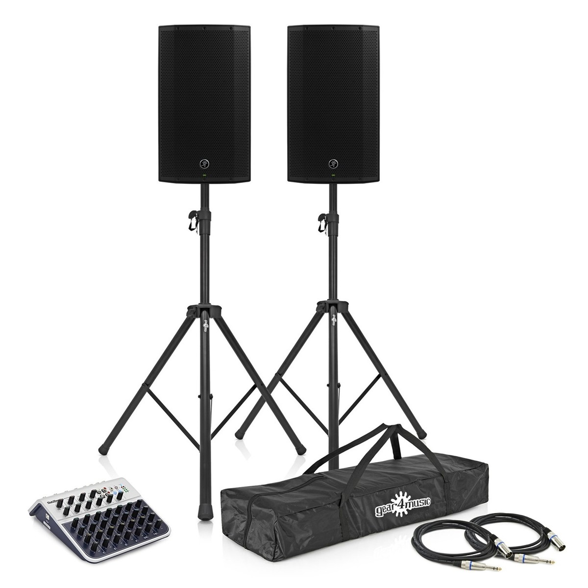 Mackie Thump 12BST Active PA Speakers with Stands and Mixer