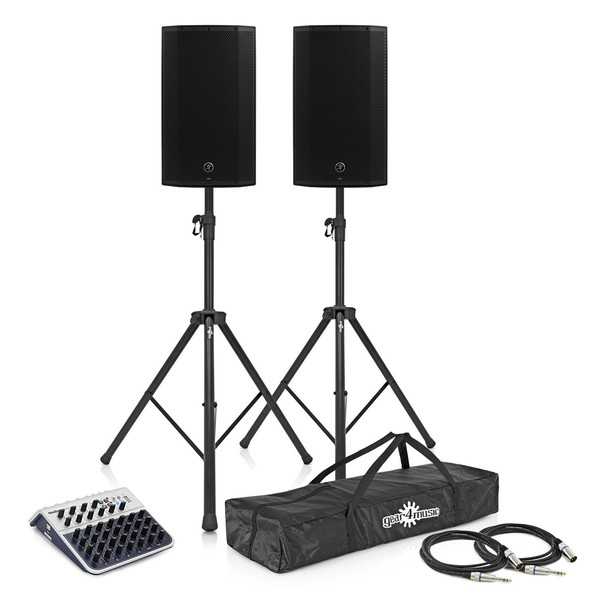 Mackie Thump15BST Active PA Speakers with Stands and Mixer