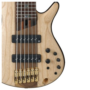 Ibanez SR1306 Premium 6 String Bass 2018, Natural Flat front controls and pickups