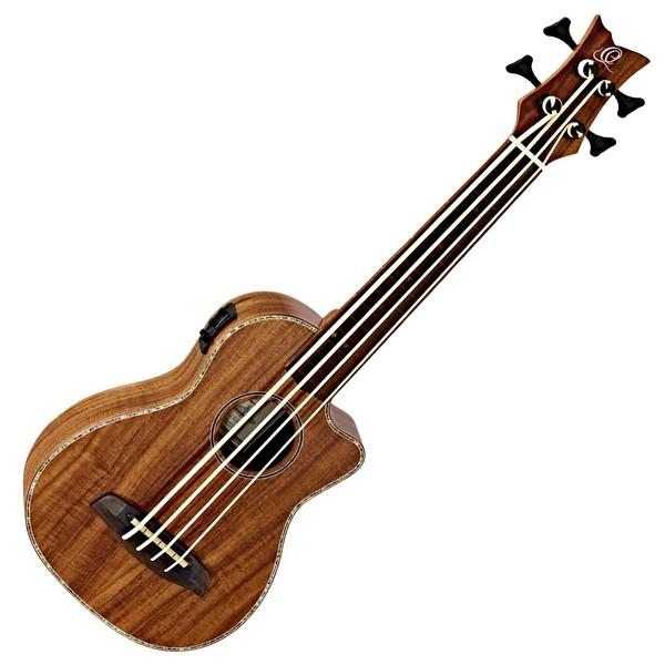 Ortega CAIMAN Fretless Electro Acoustic Bass Ukulele, Satin Acacia Front View